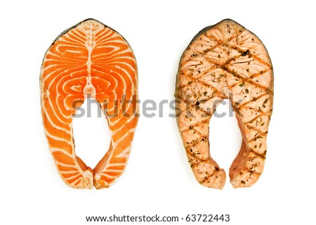 raw and grilled salmon steak isolated