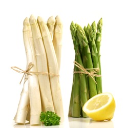 Raw Asparagus green and white isolated on white Background