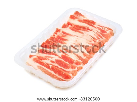 Raw bacon rashers  isolated on white background