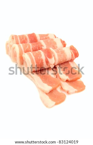 Raw bacon rashers  isolated on white background