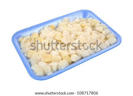 Raw bay scallops on a blue foam meat tray on a white background.