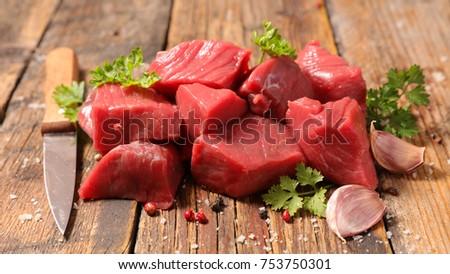 raw beef cube