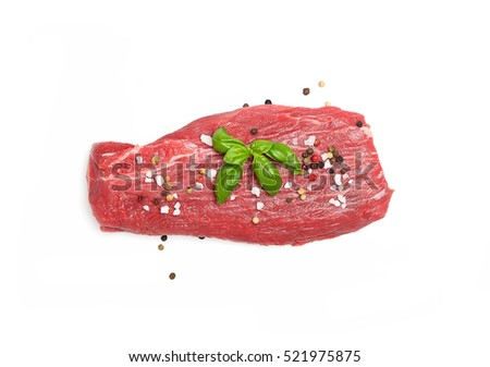 raw beef meat fillet on a white background.Top view.  #521975875