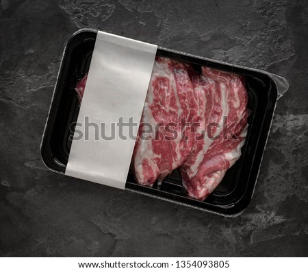 Raw beef steak vacuum Packed, mockup for design idea