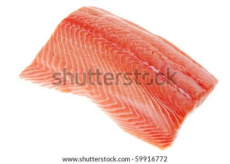 raw big salmon bar over white background