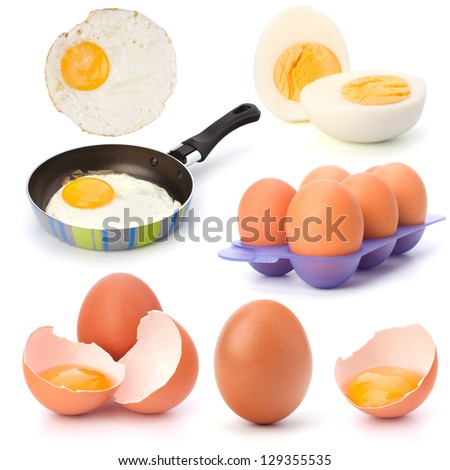 Raw, boiled and fried eggs isolated on white background cutout