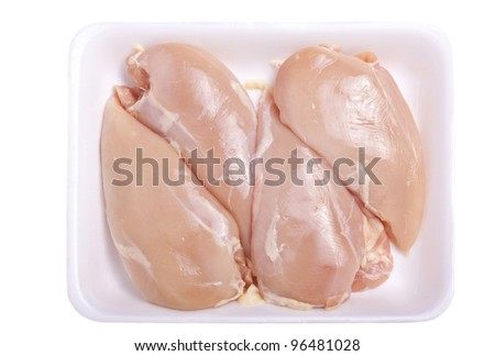 Raw boneless and skinless chicken breast in a styrofoam tray or container.