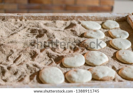 Raw Bread Cakes. Preparations in the kitchen for a nice meal