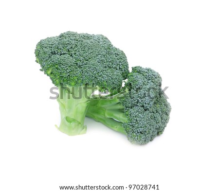 raw broccoli isolated on white background