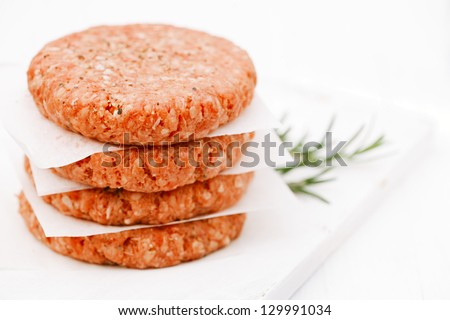Raw burgers for hamburgers, in a pile
