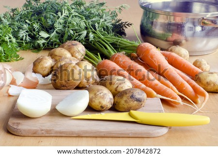Raw carrot, new potatoes and onion vegetable on a table ready for soup.