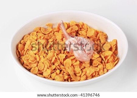 Raw chicken drumsticks being coated with corn flakes