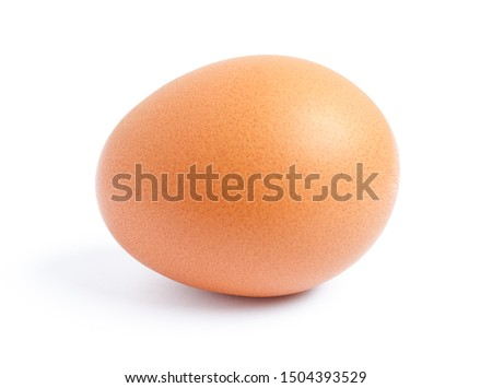 Raw chicken egg isolated on the white background. #1504393529