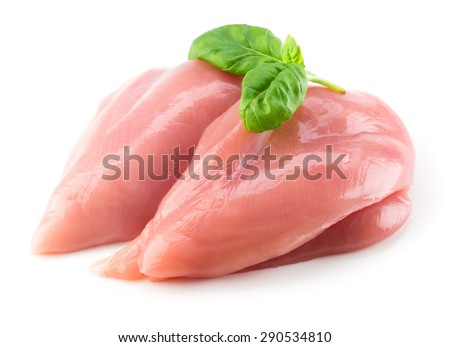 Shutterstock Raw chicken fillet with basil isolated on white