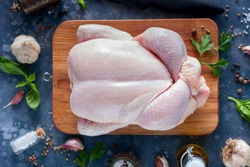 Raw chicken for a recipe, top view, horizontal