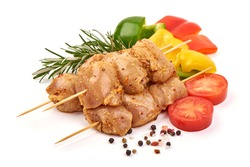 Raw chicken kebab, ready to cook, BBQ, isolated on white background.