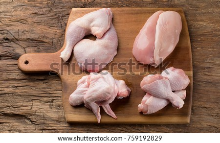 Raw chicken meat on wooden board. Healthy eating