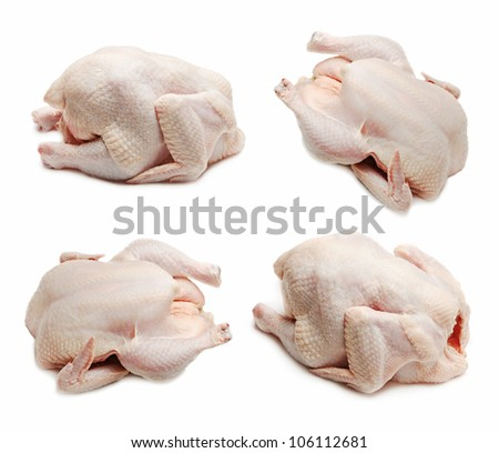 Raw chicken set isolated on white background
