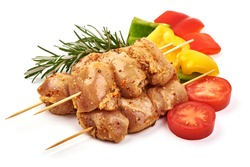 Raw chicken skewers, ready to cook, BBQ, isolated on white background.