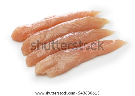raw chicken tenders isolated on white background