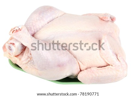 Raw chicken, whole and uncooked