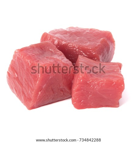 Raw chopped beef meat pieces isolated om white background cut out. #734842288