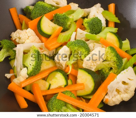 Raw chopped vegetables for stirfry - stock photo
