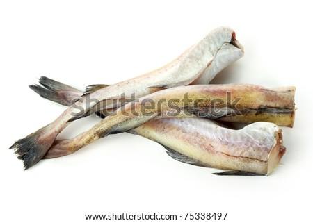 Raw cod on white background.
