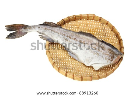 Raw cod on white background.