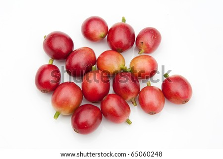 Raw coffee beans - stock photo