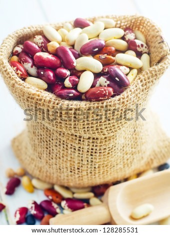 Raw color beans