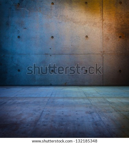 raw concrete space in sunset like ambient lighting.