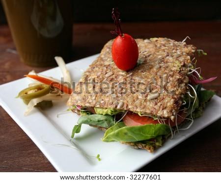 Raw cuisine: raw vegetable sandwich