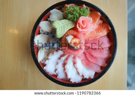 raw fish or raw salmon and raw tuna ,Japanese food #1190782366