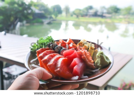 raw fish or raw salmon and raw tuna ,Japanese food #1201898710