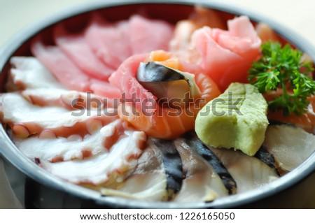 raw fish or raw salmon and raw tuna ,Japanese food