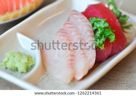 raw fish or raw tuna ,Japanese food