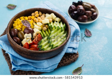 Raw food diet or clean eating concept. Fresh summer vegetarian meal. Space for text