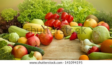 Raw fresh fruits and vegetables - organic food (vegan food)