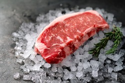 Raw fresh New York beef steak on ice with herbs and rosemary, close up