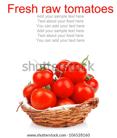 raw fresh tomatoes in wicker basket on green branch isolated on white background