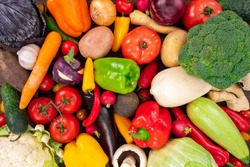 Raw fresh vegetables background. Healthy organic food concept