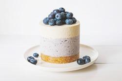 Raw gluten-free no-bake dessert. Vegan vanilla blueberry cheesecake against white background. Sweet healthy food.