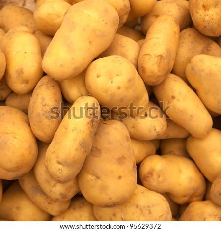 raw golden potatoes pattern in market
