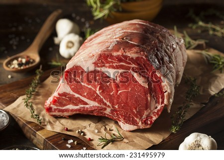 Raw Grass Fed Prime Rib Meat with Herbs and Spices #231495979