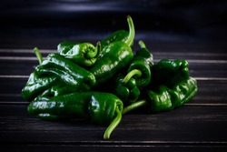 Raw green hot mexican peppers jalapeno pimientos padron spanish tapas. High quality photo