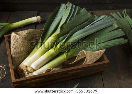 Raw Green Organic Leeks Ready to Chop Сток-фото ©