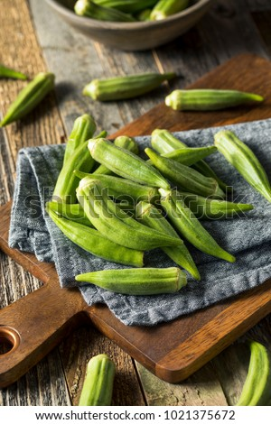 Raw Green Organic Okra Vegetables Ready to Cook