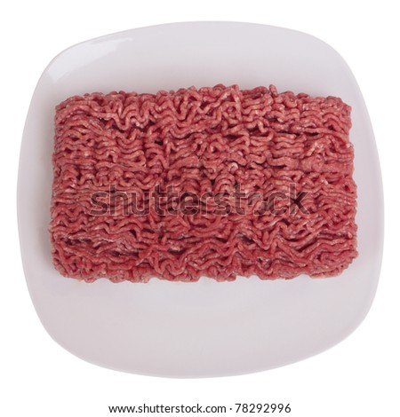 Raw ground beef. Isolated on white, with clipping path.