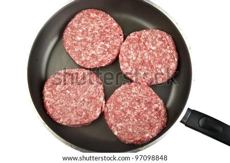 raw hamburger on s white background